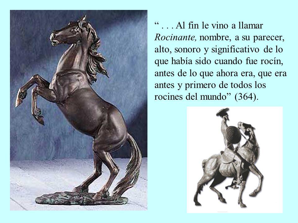 Nuestro héroe se llamaba Alonso Quijano, Quijada, Quesada o Quejana, pero después de leer el Amadís de Gaula y otros libros de caballería, decidió llamarse don Quijote de la Mancha, con que, a su parecer, declaraba muy al vivo su linaje y patria (365).