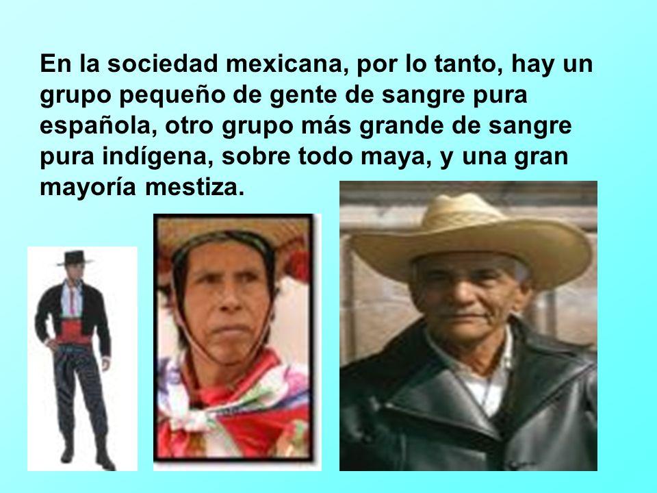 En la sociedad mexicana, por lo tanto, hay un grupo pequeño de gente de sangre pura española, otro grupo más grande de sangre pura indígena, sobre todo maya, y una gran mayoría mestiza.