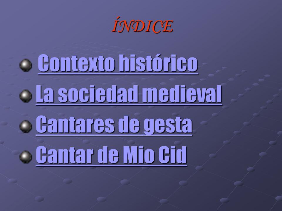 ÍNDICE Contexto histórico Contexto histórico Contexto histórico Contexto histórico La sociedad medieval La sociedad medievalLa sociedad medievalLa soc