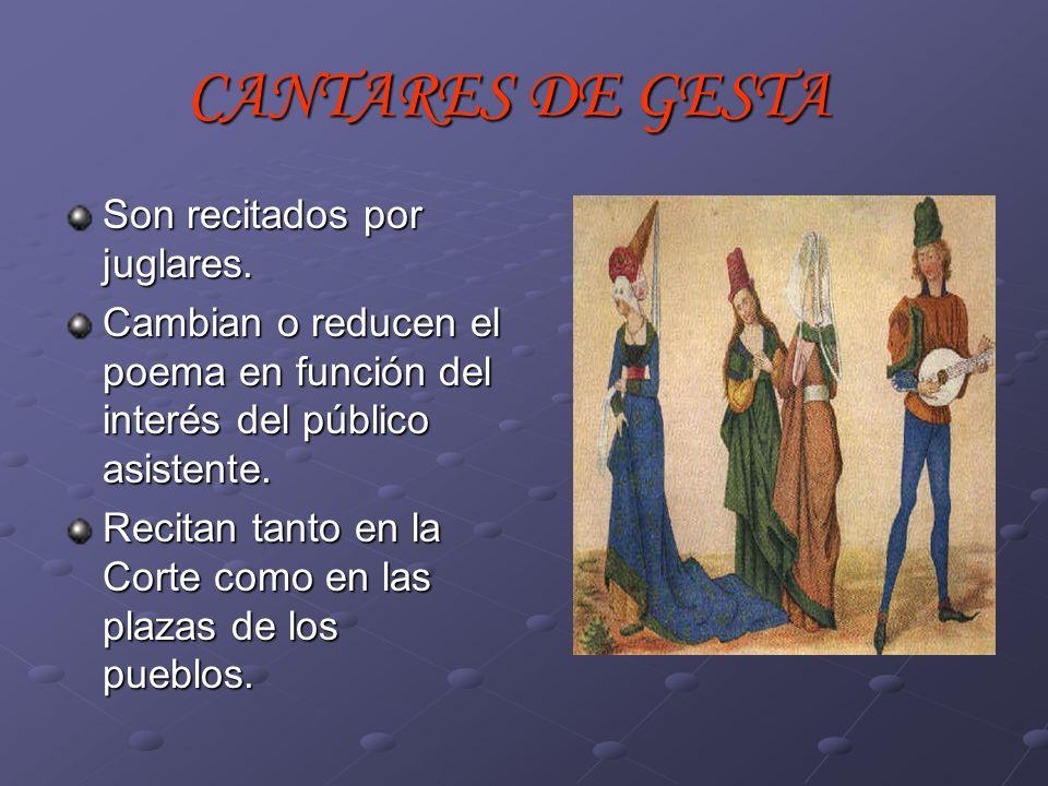 Sólo conservamos, y no completos, tres cantares: Cantar de Mio Cid (manuscrito del 1207).