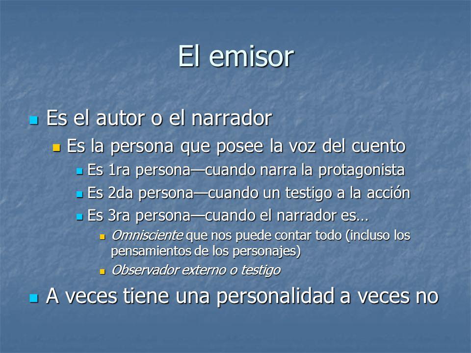 El emisor Es el autor o el narrador Es el autor o el narrador Es la persona que posee la voz del cuento Es la persona que posee la voz del cuento Es 1
