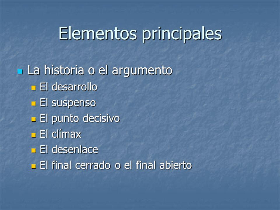 Elementos principales La historia o el argumento La historia o el argumento El desarrollo El desarrollo El suspenso El suspenso El punto decisivo El p