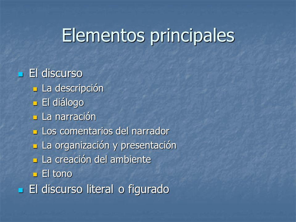 Elementos principales El discurso El discurso La descripción La descripción El diálogo El diálogo La narración La narración Los comentarios del narrad