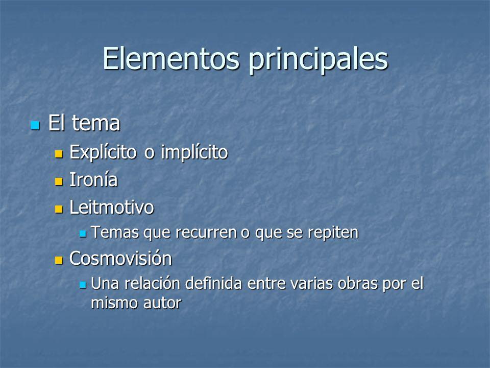 Elementos principales El tema El tema Explícito o implícito Explícito o implícito Ironía Ironía Leitmotivo Leitmotivo Temas que recurren o que se repi