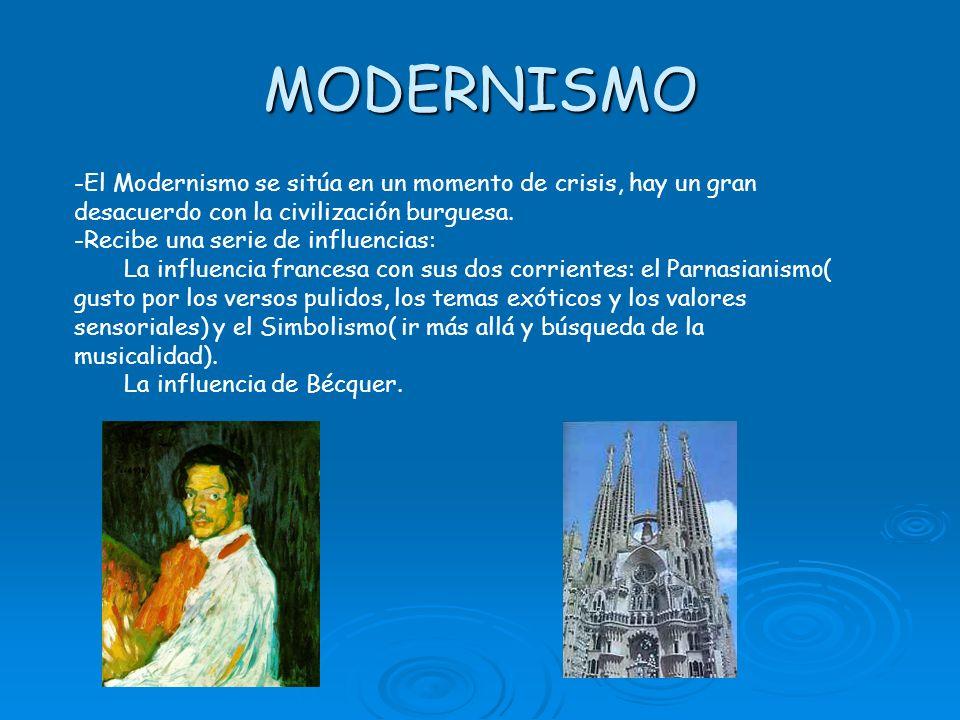 MODERNISMO -El Modernismo se sitúa en un momento de crisis, hay un gran desacuerdo con la civilización burguesa. -Recibe una serie de influencias: La