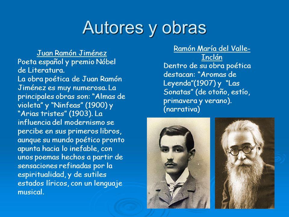 Autores y obras Juan Ramón Jiménez Poeta español y premio Nóbel de Literatura. La obra poética de Juan Ramón Jiménez es muy numerosa. La principales o