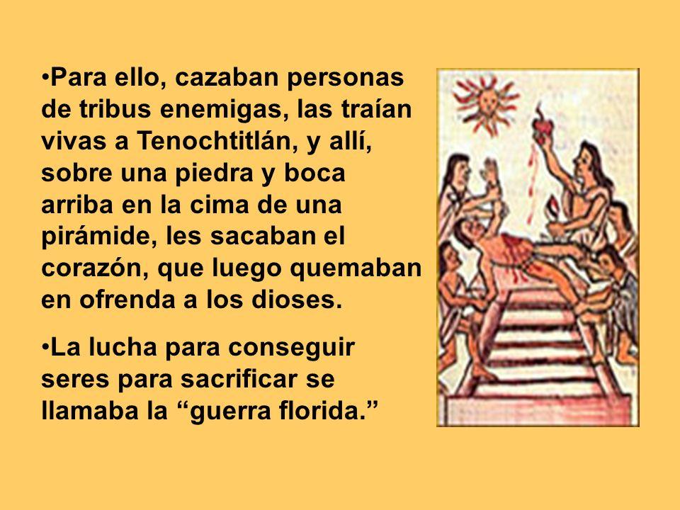 Para ello, cazaban personas de tribus enemigas, las traían vivas a Tenochtitlán, y allí, sobre una piedra y boca arriba en la cima de una pirámide, le
