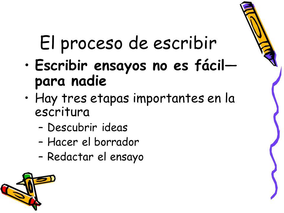 El proceso de escribir Escribir ensayos no es fácil para nadie Hay tres etapas importantes en la escritura –Descubrir ideas –Hacer el borrador –Redact