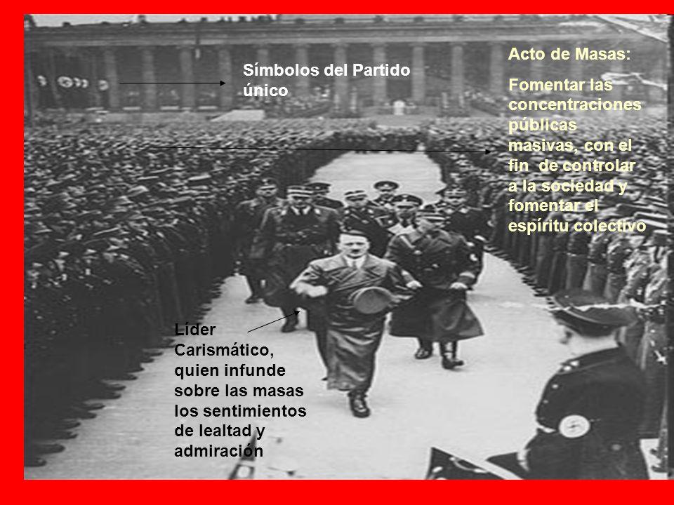 Acto de Masas: Fomentar las concentraciones públicas masivas, con el fin de controlar a la sociedad y fomentar el espíritu colectivo Líder Carismático