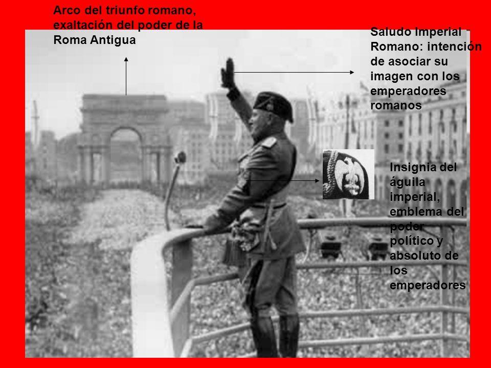 Saludo Imperial Romano: intención de asociar su imagen con los emperadores romanos Insignia del águila imperial, emblema del poder político y absoluto