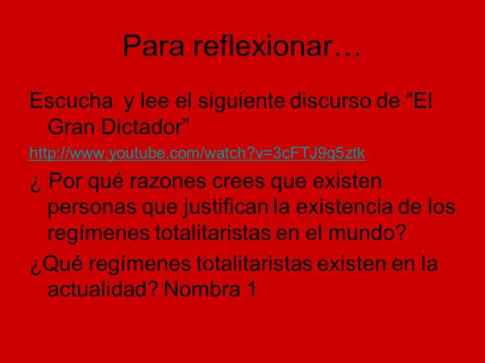 Para reflexionar… Escucha y lee el siguiente discurso de El Gran Dictador http://www.youtube.com/watch?v=3cFTJ9q5ztk ¿ Por qué razones crees que exist
