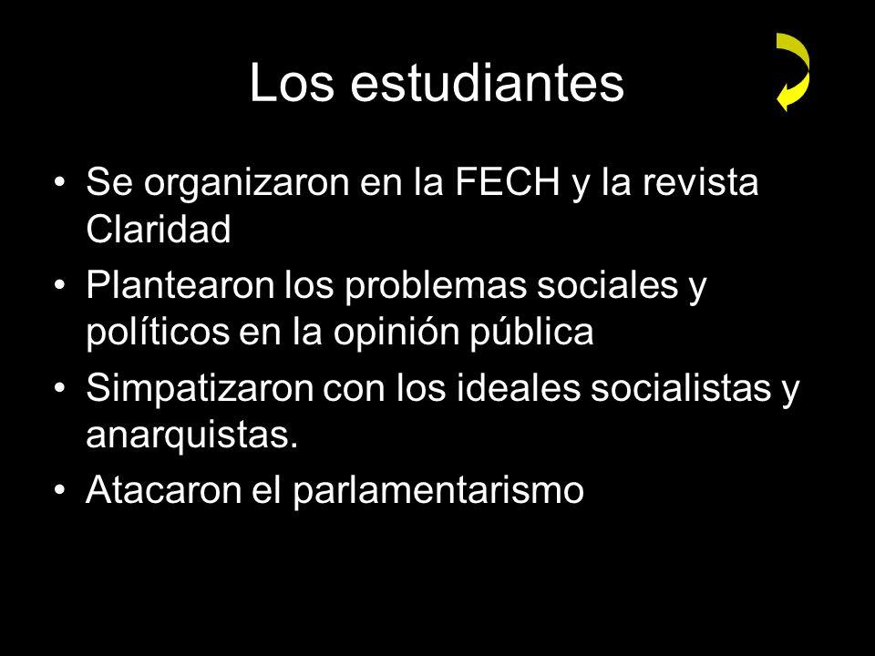 Los estudiantes Se organizaron en la FECH y la revista Claridad Plantearon los problemas sociales y políticos en la opinión pública Simpatizaron con l