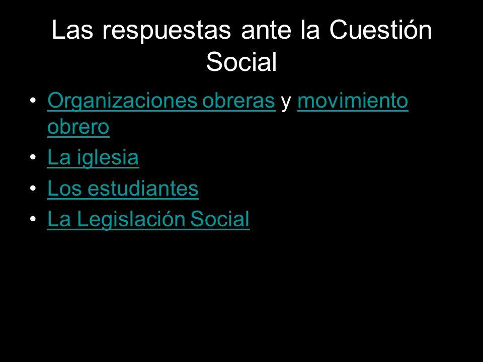 Las respuestas ante la Cuestión Social Organizaciones obreras y movimiento obreroOrganizaciones obrerasmovimiento obrero La iglesia Los estudiantes La