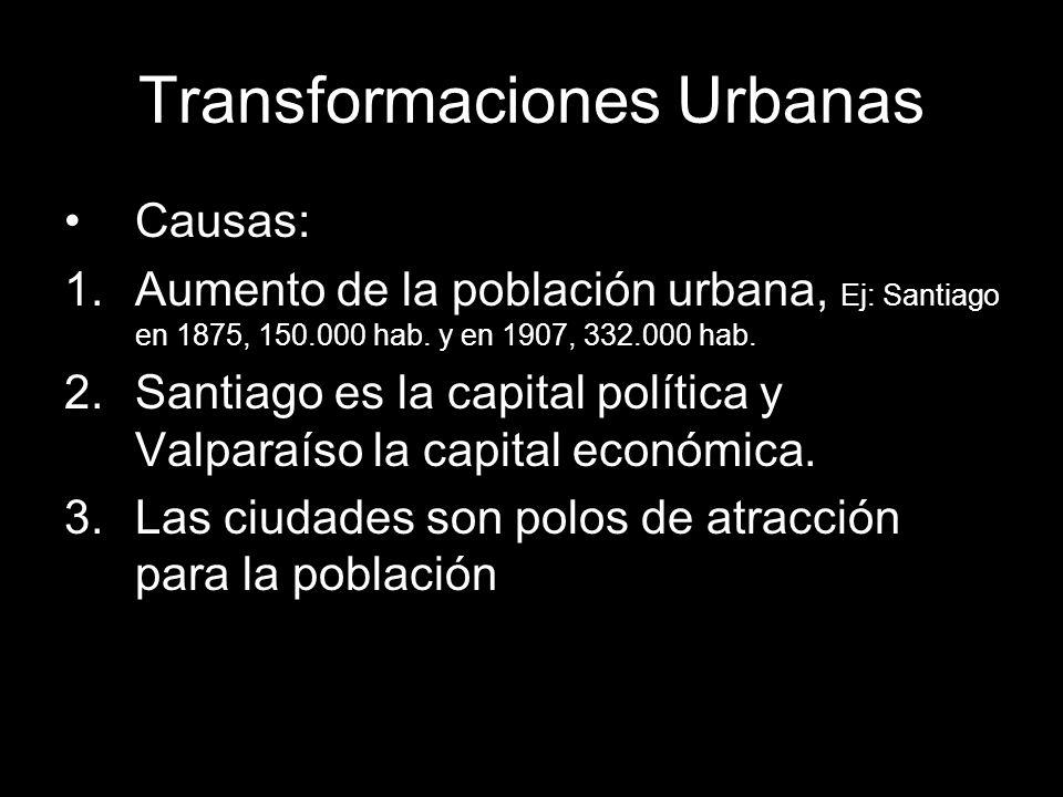 Transformaciones Urbanas Causas: 1.Aumento de la población urbana, Ej: Santiago en 1875, 150.000 hab. y en 1907, 332.000 hab. 2.Santiago es la capital