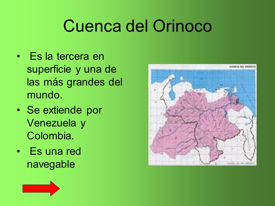 Cuenca del Orinoco Es la tercera en superficie y una de las más grandes del mundo. Se extiende por Venezuela y Colombia. Es una red navegable
