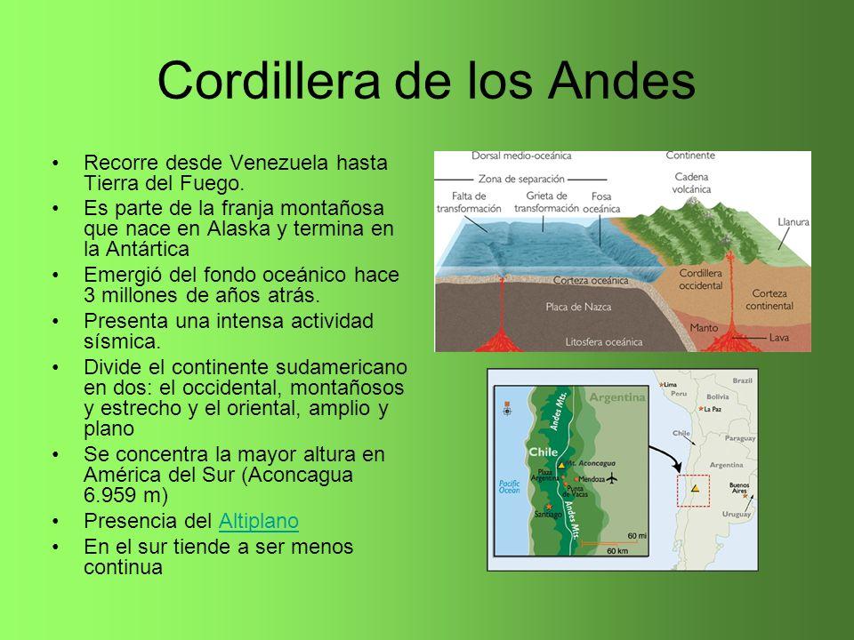 Cordillera de los Andes Recorre desde Venezuela hasta Tierra del Fuego. Es parte de la franja montañosa que nace en Alaska y termina en la Antártica E