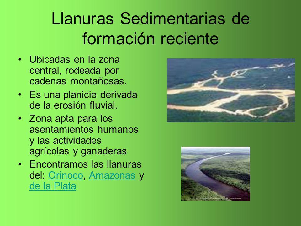 Llanuras Sedimentarias de formación reciente Ubicadas en la zona central, rodeada por cadenas montañosas. Es una planicie derivada de la erosión fluvi