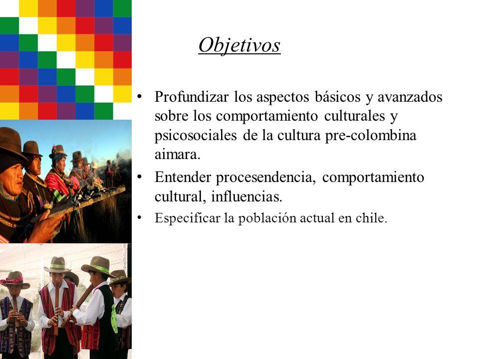 Objetivos Profundizar los aspectos básicos y avanzados sobre los comportamiento culturales y psicosociales de la cultura pre-colombina aimara. Entende