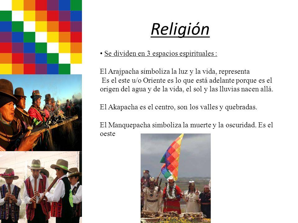 Religión Se dividen en 3 espacios espirituales : El Arajpacha simboliza la luz y la vida, representa Es el este u/o Oriente es lo que está adelante po