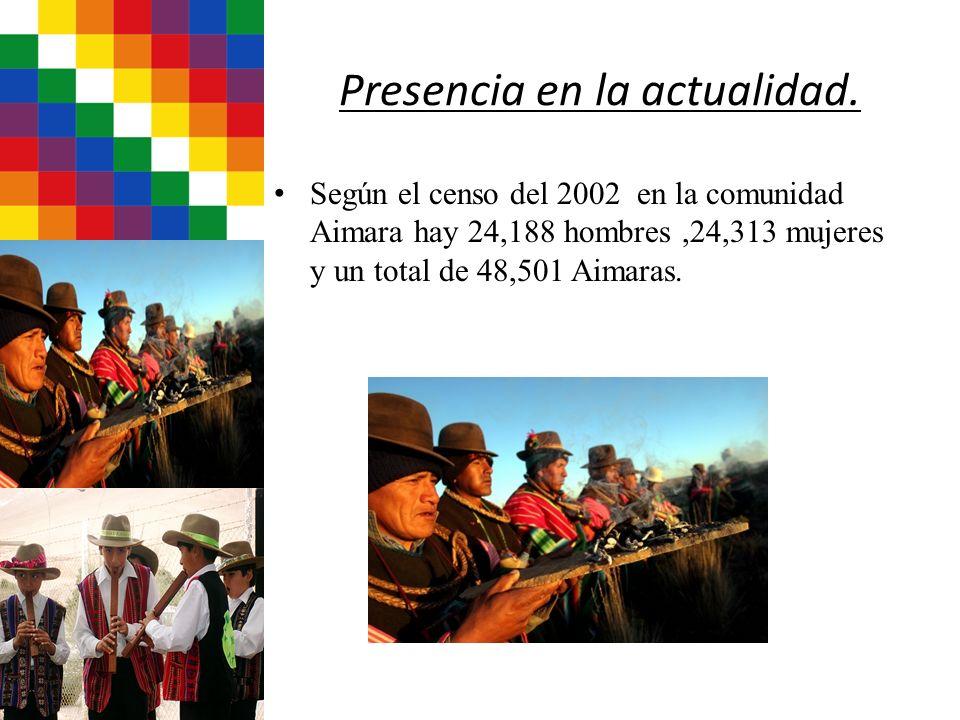 Presencia en la actualidad. Según el censo del 2002 en la comunidad Aimara hay 24,188 hombres,24,313 mujeres y un total de 48,501 Aimaras.