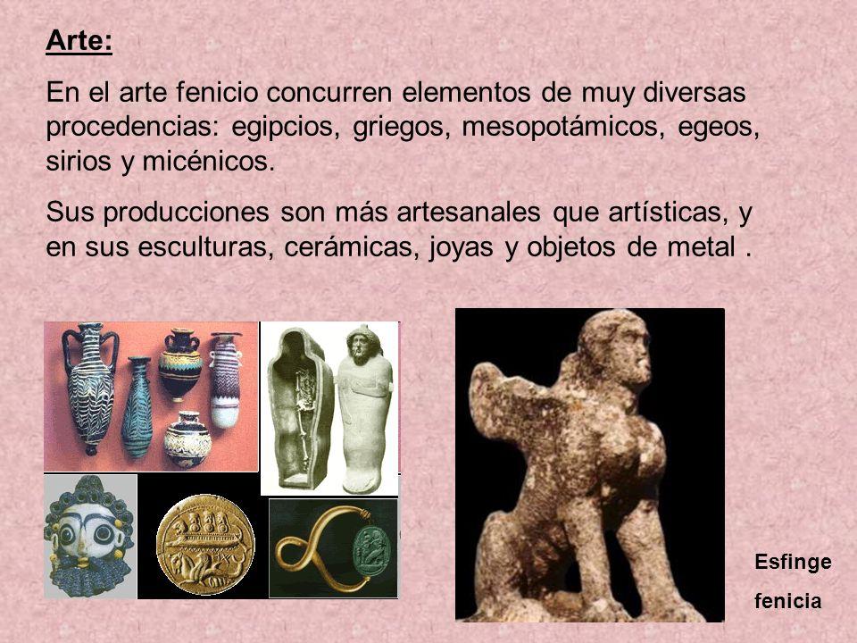 Arte: En el arte fenicio concurren elementos de muy diversas procedencias: egipcios, griegos, mesopotámicos, egeos, sirios y micénicos. Sus produccion