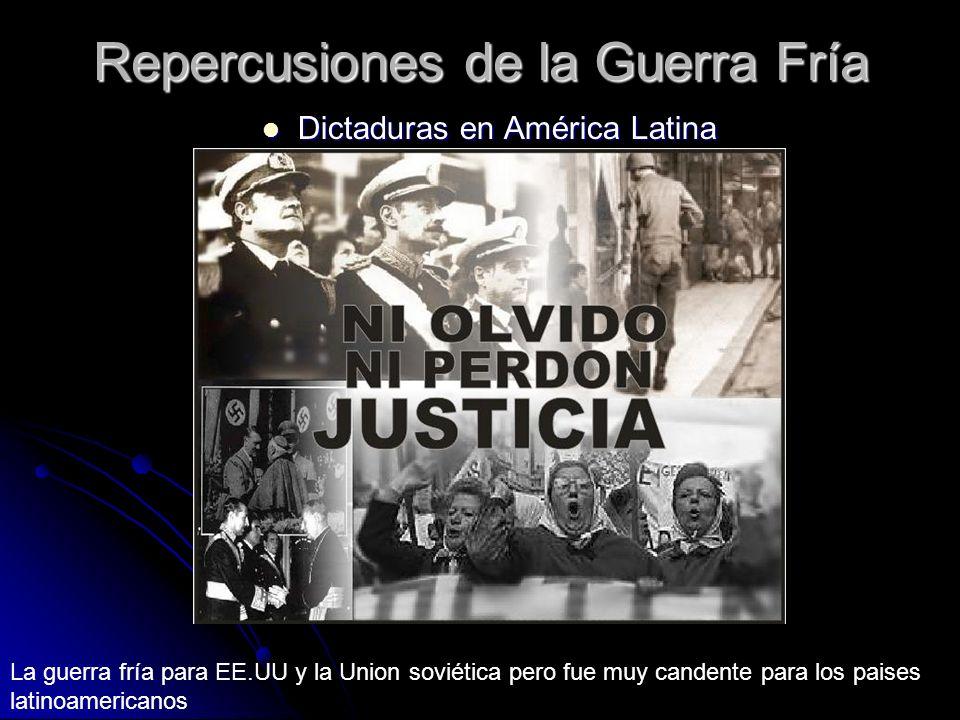 Repercusiones de la Guerra Fría Dictaduras en América Latina Dictaduras en América Latina La guerra fría para EE.UU y la Union soviética pero fue muy