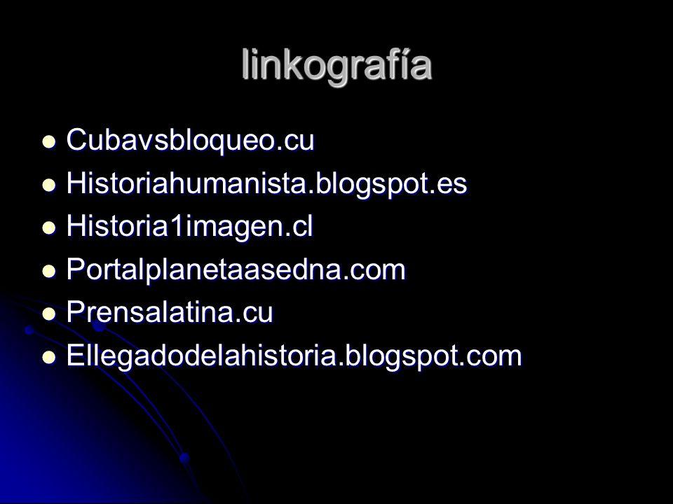 linkografía Cubavsbloqueo.cu Cubavsbloqueo.cu Historiahumanista.blogspot.es Historiahumanista.blogspot.es Historia1imagen.cl Historia1imagen.cl Portal