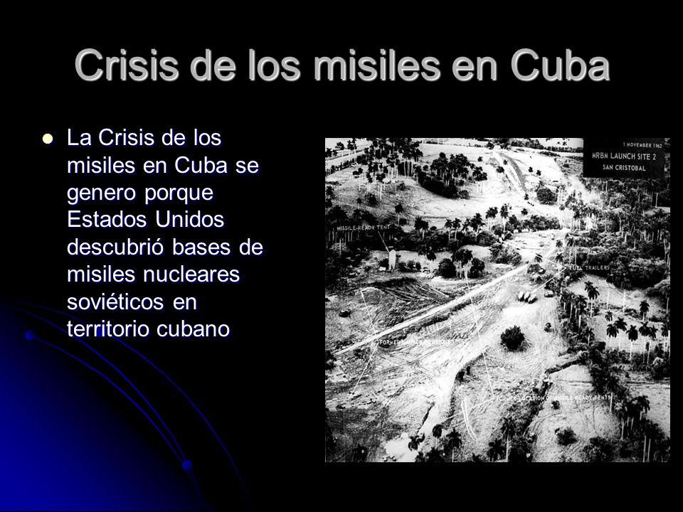 Crisis de los misiles en Cuba La Crisis de los misiles en Cuba se genero porque Estados Unidos descubrió bases de misiles nucleares soviéticos en terr