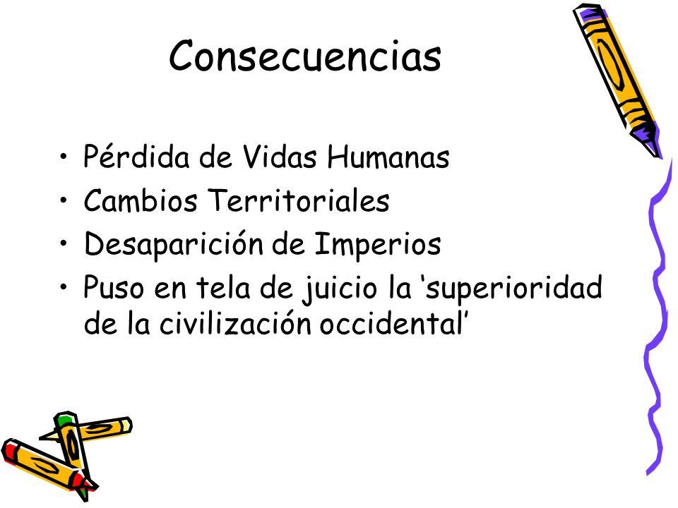 Consecuencias Pérdida de Vidas Humanas Cambios Territoriales Desaparición de Imperios Puso en tela de juicio la superioridad de la civilización occide