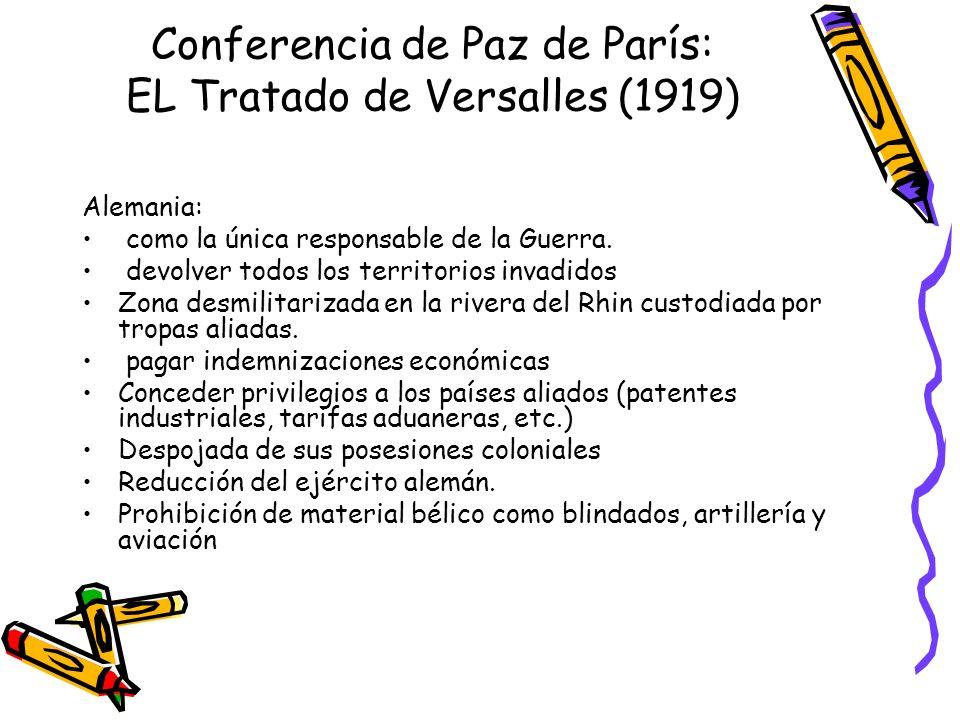 Conferencia de Paz de París: EL Tratado de Versalles (1919) Alemania: como la única responsable de la Guerra. devolver todos los territorios invadidos