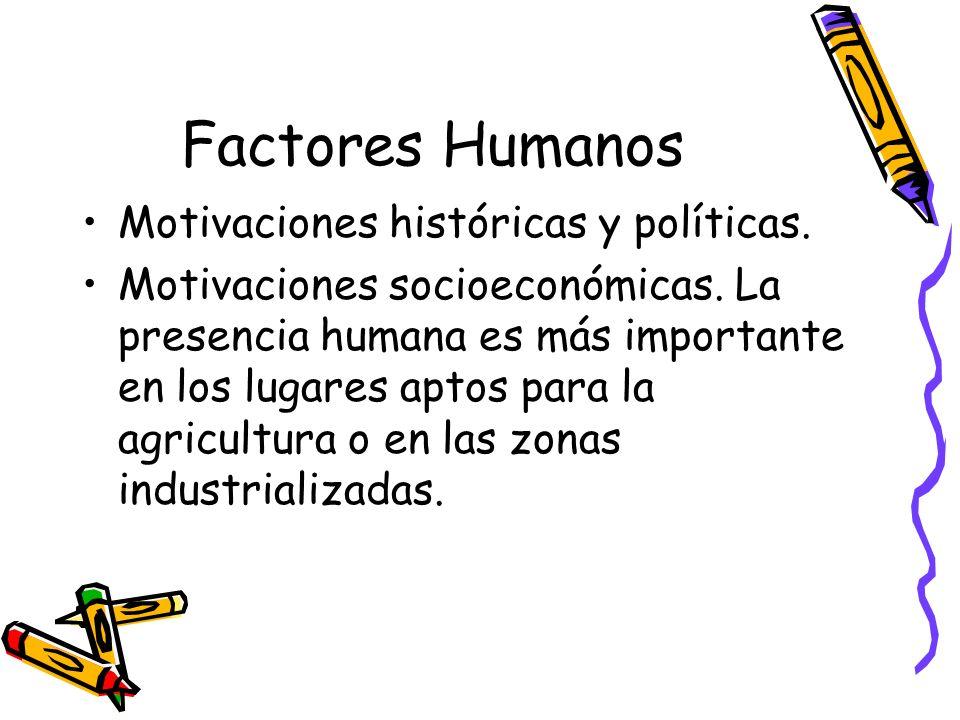 Factores Humanos Motivaciones históricas y políticas. Motivaciones socioeconómicas. La presencia humana es más importante en los lugares aptos para la