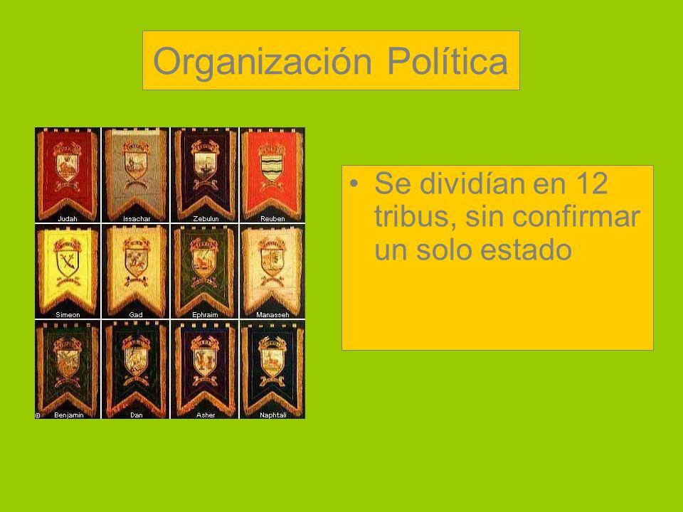 Organización Política Se dividían en 12 tribus, sin confirmar un solo estado
