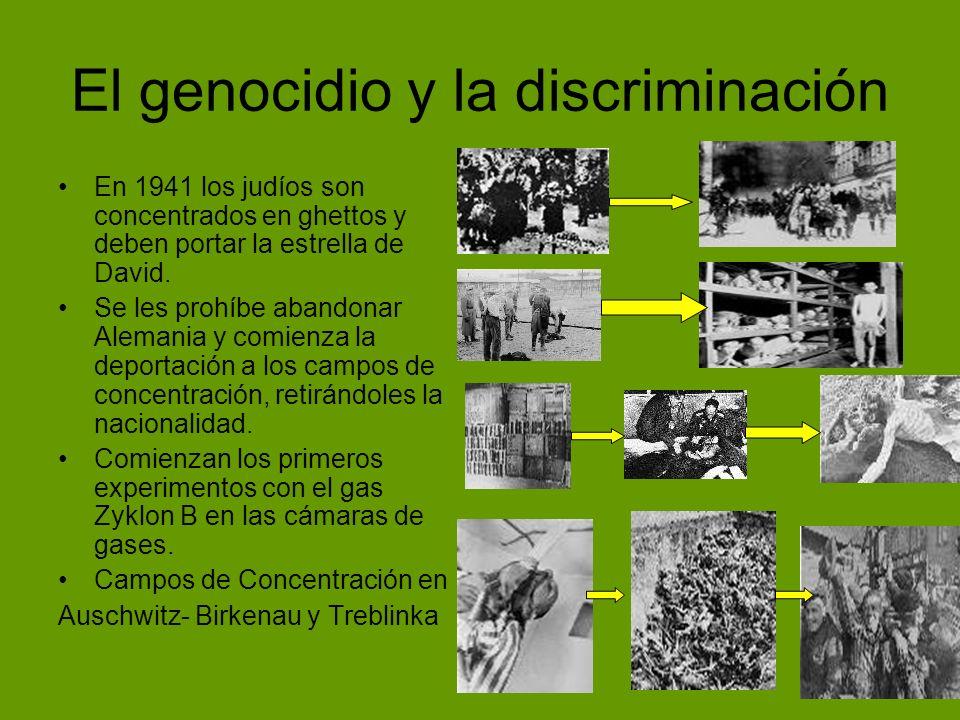El genocidio y la discriminación En 1941 los judíos son concentrados en ghettos y deben portar la estrella de David. Se les prohíbe abandonar Alemania