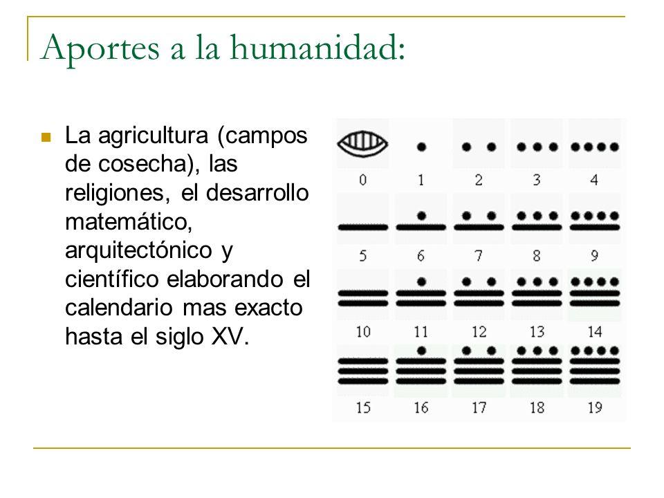 Aportes a la humanidad: La agricultura (campos de cosecha), las religiones, el desarrollo matemático, arquitectónico y científico elaborando el calend