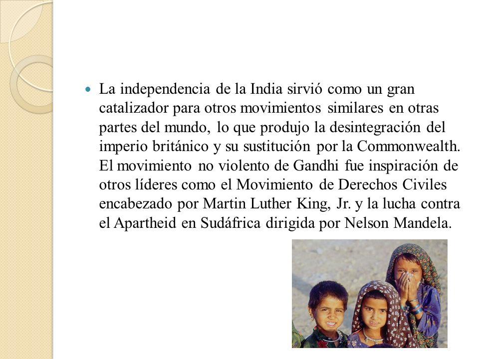 La independencia de la India sirvió como un gran catalizador para otros movimientos similares en otras partes del mundo, lo que produjo la desintegrac