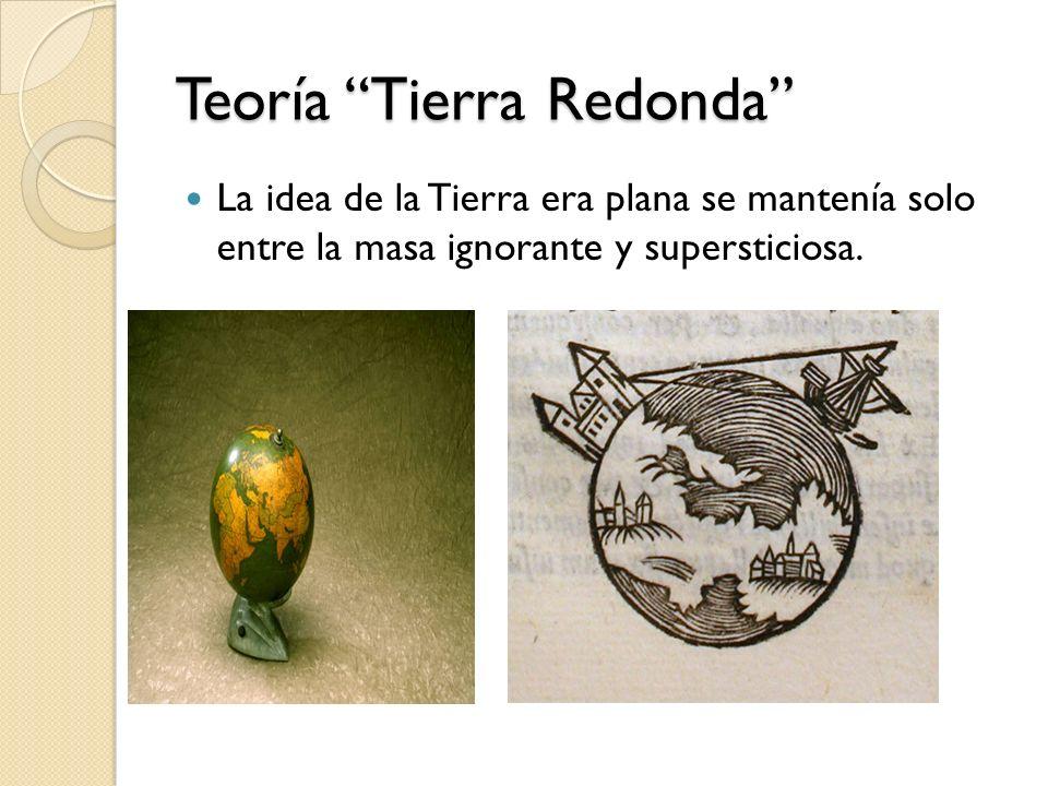 Teoría Tierra Redonda La idea de la Tierra era plana se mantenía solo entre la masa ignorante y supersticiosa.