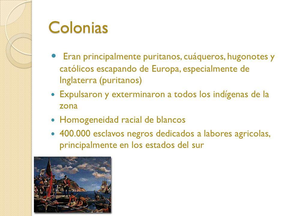 Colonias Eran principalmente puritanos, cuáqueros, hugonotes y católicos escapando de Europa, especialmente de Inglaterra (puritanos) Expulsaron y exterminaron a todos los indígenas de la zona Homogeneidad racial de blancos 400.000 esclavos negros dedicados a labores agricolas, principalmente en los estados del sur