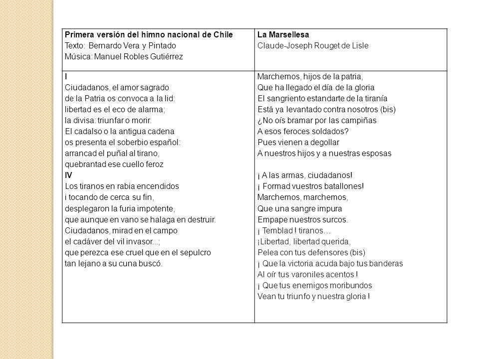 Primera versión del himno nacional de Chile Texto: Bernardo Vera y Pintado Música: Manuel Robles Gutiérrez La Marsellesa Claude-Joseph Rouget de Lisle