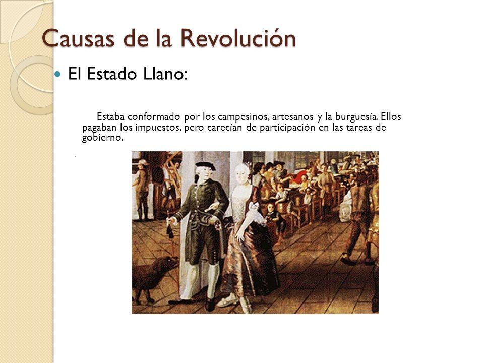 Causas de la Revolución El Estado Llano: Estaba conformado por los campesinos, artesanos y la burguesía. Ellos pagaban los impuestos, pero carecían de