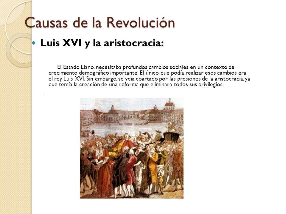Causas de la Revolución Luis XVI y la aristocracia: El Estado Llano, necesitaba profundos cambios sociales en un contexto de crecimiento demográfico i