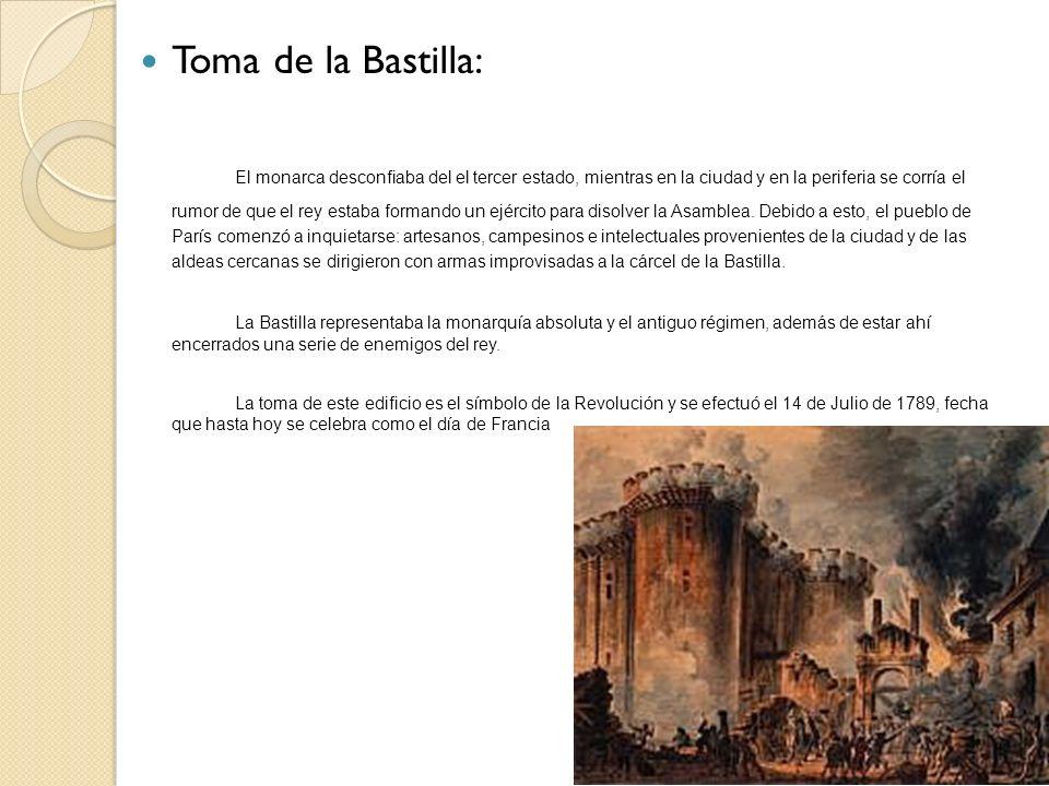 Toma de la Bastilla: El monarca desconfiaba del el tercer estado, mientras en la ciudad y en la periferia se corría el rumor de que el rey estaba form