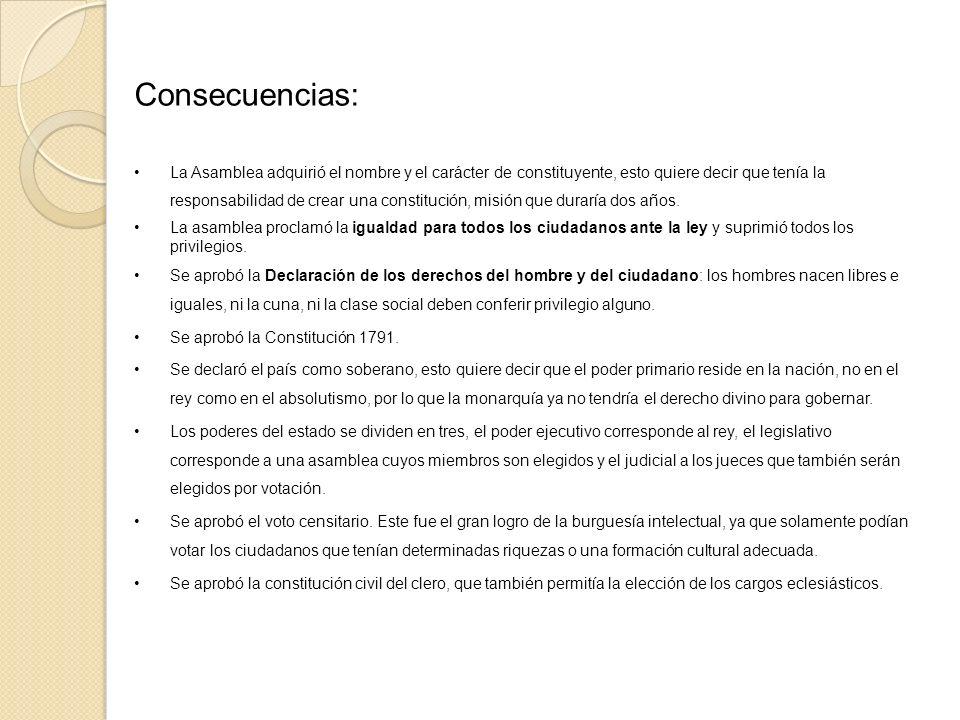 Consecuencias: La Asamblea adquirió el nombre y el carácter de constituyente, esto quiere decir que tenía la responsabilidad de crear una constitución