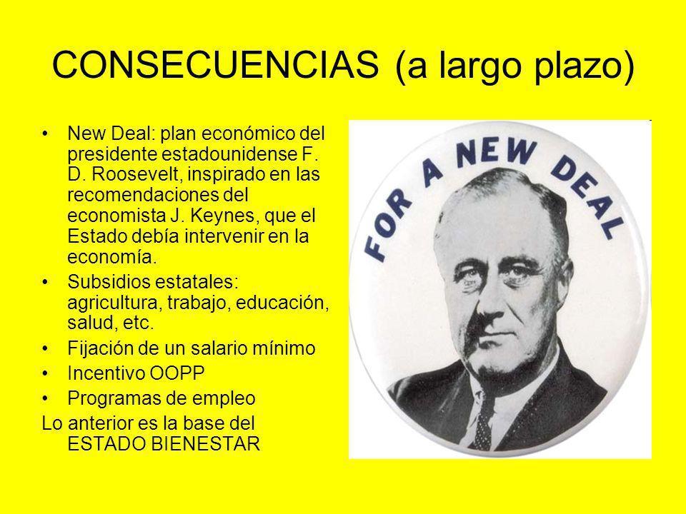 CONSECUENCIAS (a largo plazo) New Deal: plan económico del presidente estadounidense F. D. Roosevelt, inspirado en las recomendaciones del economista