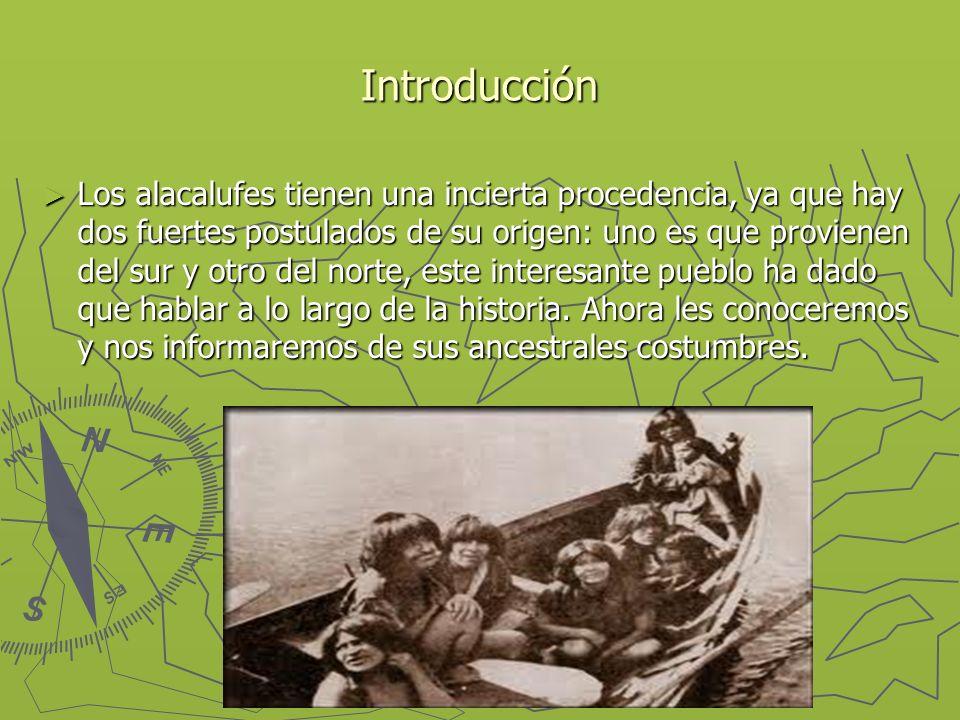 Introducción Los alacalufes tienen una incierta procedencia, ya que hay dos fuertes postulados de su origen: uno es que provienen del sur y otro del n