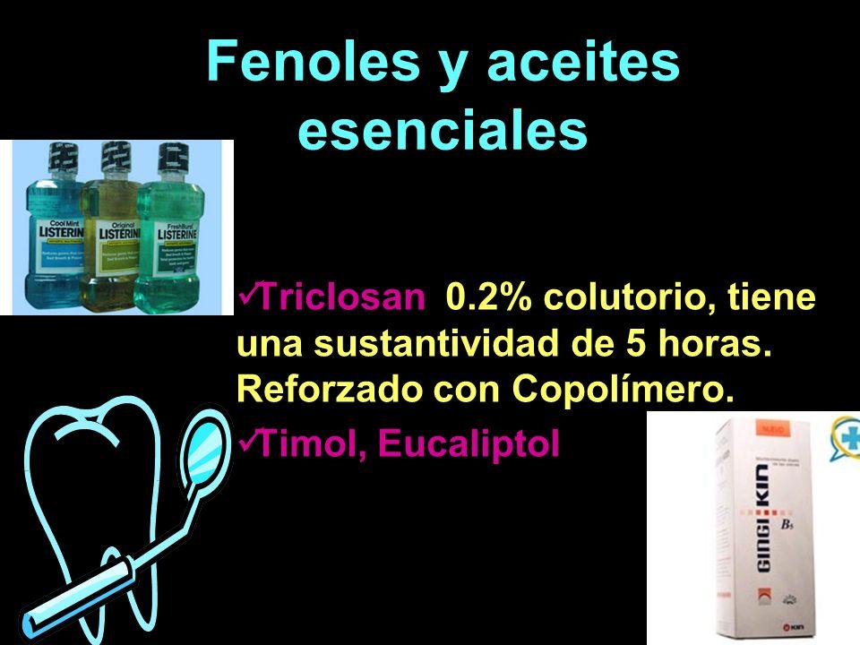 Fenoles y aceites esenciales Triclosan 0.2% colutorio, tiene una sustantividad de 5 horas. Reforzado con Copolímero. Timol, Eucaliptol