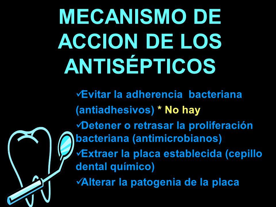 MECANISMO DE ACCION DE LOS ANTISÉPTICOS Evitar la adherencia bacteriana (antiadhesivos) * No hay Detener o retrasar la proliferación bacteriana (antim