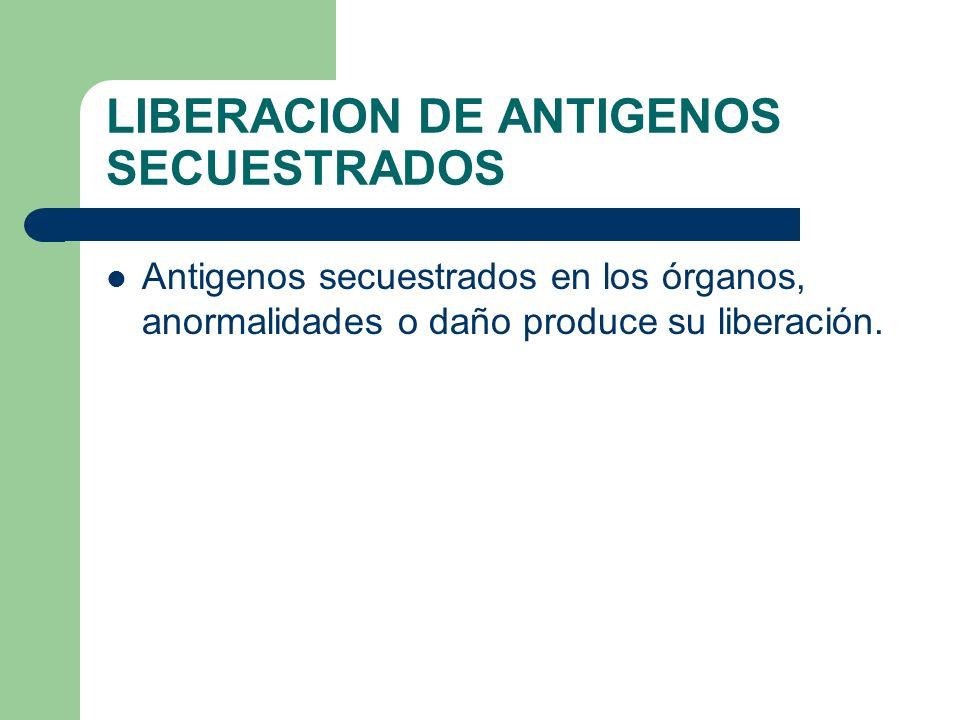 LIBERACION DE ANTIGENOS SECUESTRADOS Antigenos secuestrados en los órganos, anormalidades o daño produce su liberación.