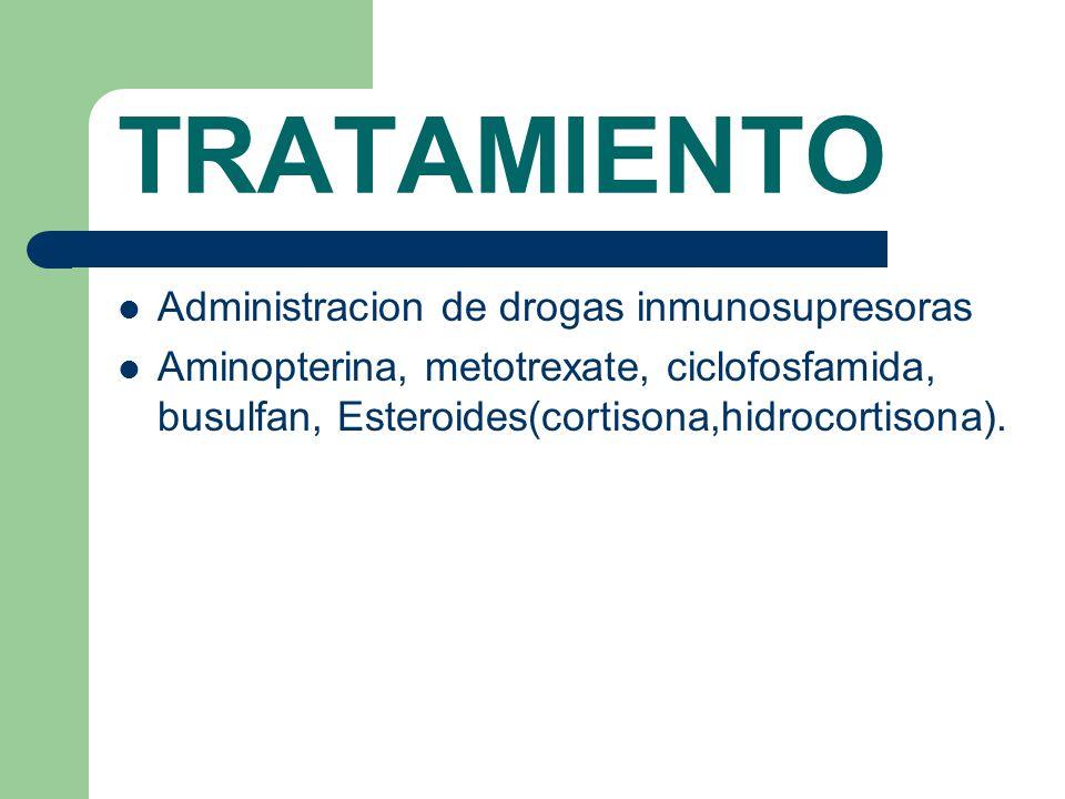 TRATAMIENTO Administracion de drogas inmunosupresoras Aminopterina, metotrexate, ciclofosfamida, busulfan, Esteroides(cortisona,hidrocortisona).