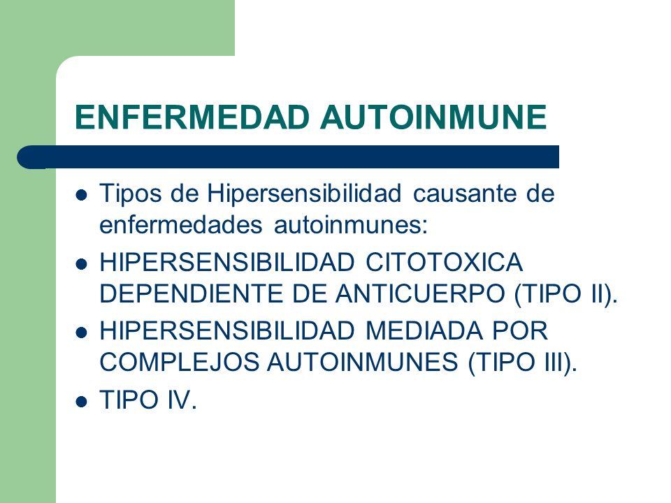 ENFERMEDAD AUTOINMUNE Tipos de Hipersensibilidad causante de enfermedades autoinmunes: HIPERSENSIBILIDAD CITOTOXICA DEPENDIENTE DE ANTICUERPO (TIPO II