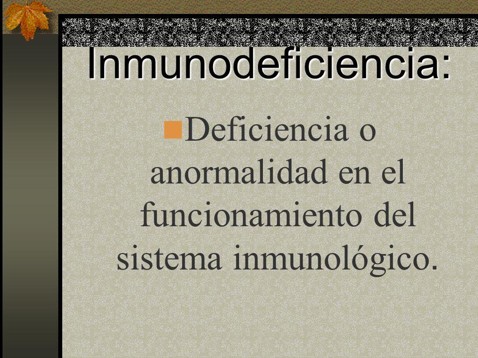 Inmnunodeficiencias Adquiridas *Infecci ó n posviral *Infecci ó n post-transfusi ó n *Deficiencia Nutricional *Abuso de drogas *Alcoholismo Materno *Radioterapia *Tratamiento inmunosupresor.